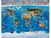 Fototapeta 3D Mapa Světa Walltastic 41851, rozměry 305 x 244 cm Fototapety pro děti - Rozměr 244 x 305 cm