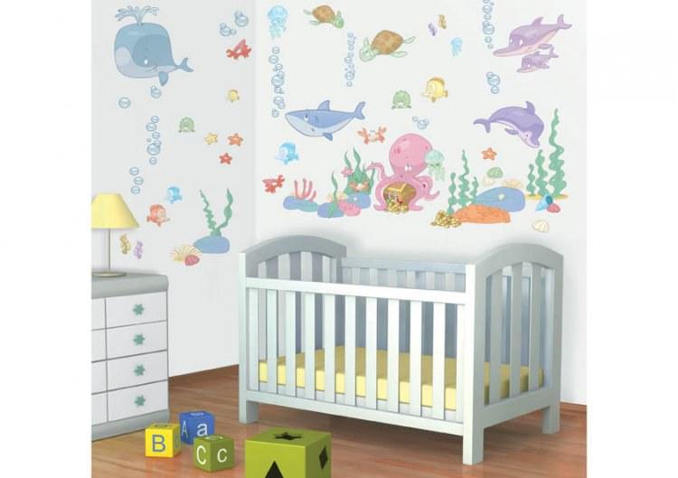 Samolepicí dekorace Walltastic Baby moře 41073, 93 ks | Dekorace do dětských pokojů Nálepky pro Děti