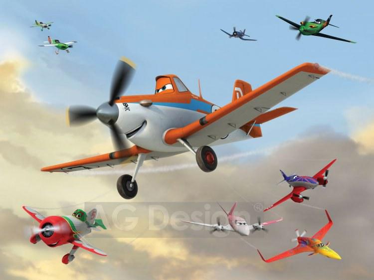 Dětská papírová fototapeta AG Design Planes eskadra FTDS-2218, rozměry 360 x 254 cm