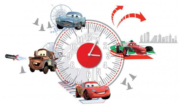 Dekorace hodiny Cars D70103, rozměry 25 x 70 cm - Dekorace Cars