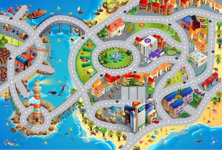Dětský koberec Město a pláž, rozměry 80 x 120 cm - Dětské koberce