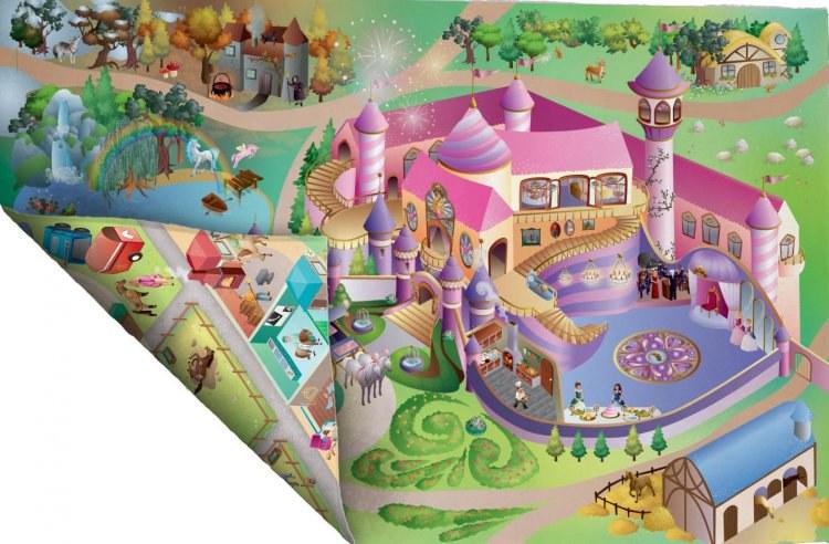 Dětský koberec venkovní oboustranný Zámek a Jízdárna, rozměry 100 x 150 cm | Dětské koberce Koberce Hrací