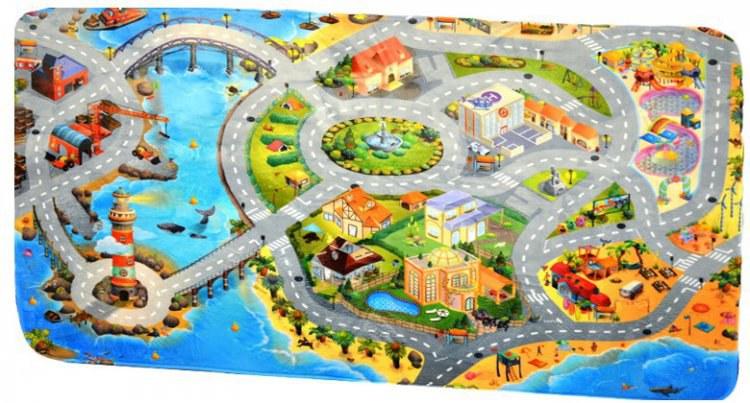 Dětský koberec Ultra Soft Město s Pláží 86031 | rozměry 130 x 180 cm | Dětské koberce Koberce Hrací