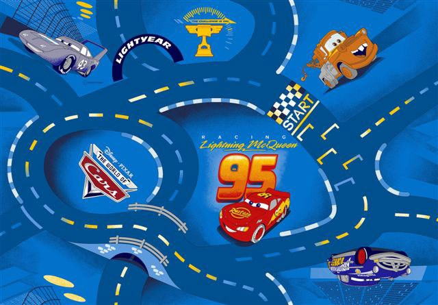 Koberec do dětského pokoje Cars Racing modrý, rozměry 133 x 165 cm | Dětské koberce Koberce Cars