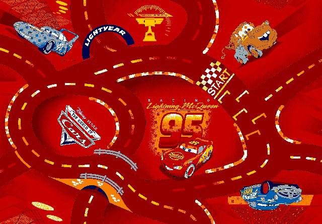 Koberec do dětského pokoje Cars Racing červený, rozměry 140 x 200 cm | Dětské koberce Koberce Cars