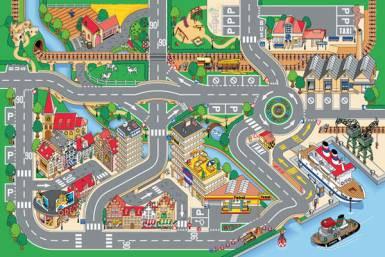Dětský koberec Město a přístav, rozměry 100 x 150 cm | Dětské koberce Koberce Hrací