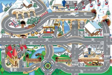 Dětský koberec Město a sníh, rozměry 80 x 120 cm | Dětské koberce Koberce Hrací