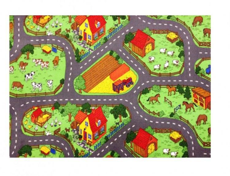 Koberec do dětského pokoje Farma kruh 120, průměr 120 cm - Koberce na hraní