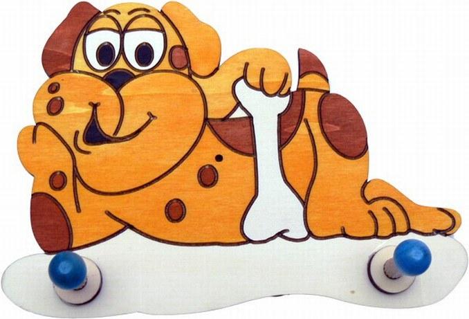 Dřevěný věšáček Pes 2VLB2, rozměry 20 x 14 cm - Dřevěné dekorace pro děti