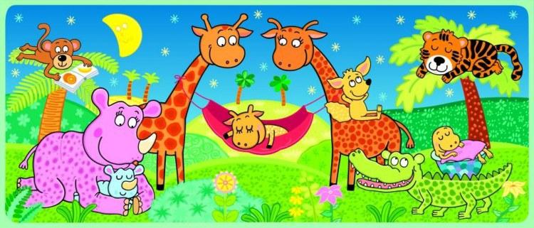 Fototapeta Žirafy a houpačka FTV-0529, rozměry 202 x 90 cm - Fototapety skladem