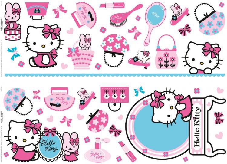 Nálepky na zeď Hello Kitty D41060, rozměry 70 x 50 cm - Dekorace Hello Kitty