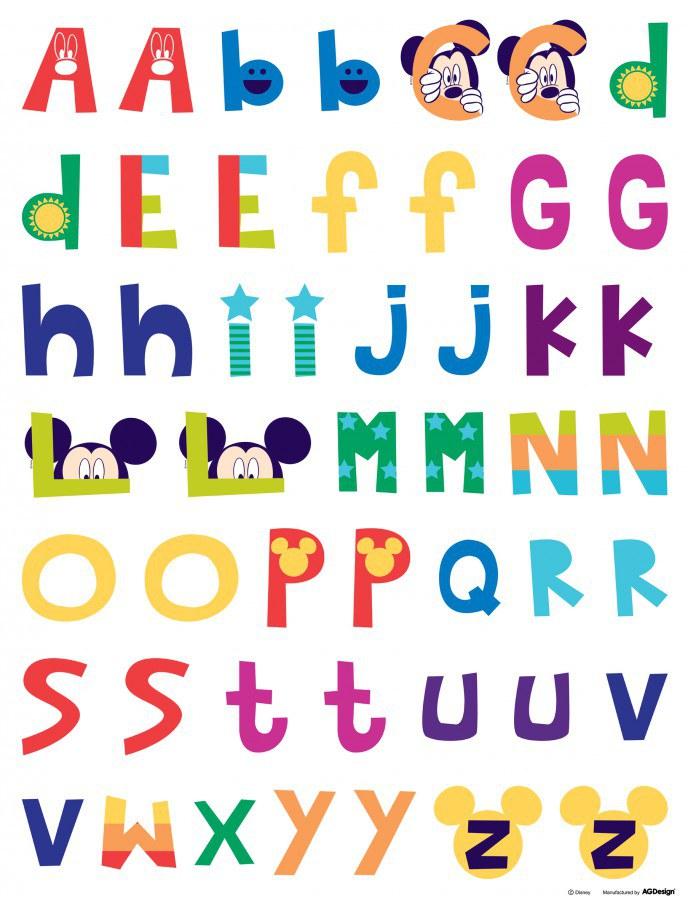 Maxi nálepka Mickey abeceda DK-0895, rozměry 85 x 65 cm - Dekorace Mickey Mouse
