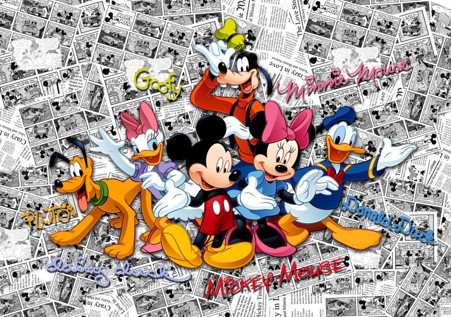 Dětská vliesová fototapeta Mickey Mouse FTDN5056, rozměry 360 x 270 cm | Fototapety pro děti Fototapety dětské vliesové