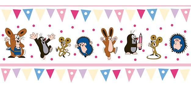 Dětská vliesová bordura Krtek růžová 6120002 | Dětské tapety na zeď Tapety Krteček