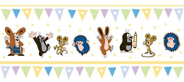 Dětská vliesová bordura Krtek žlutá 6120003 | Dětské tapety na zeď Tapety Krteček