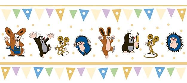 Dětská vliesová bordura Krtek béžová 6120004 | Dětské tapety na zeď Tapety Krteček