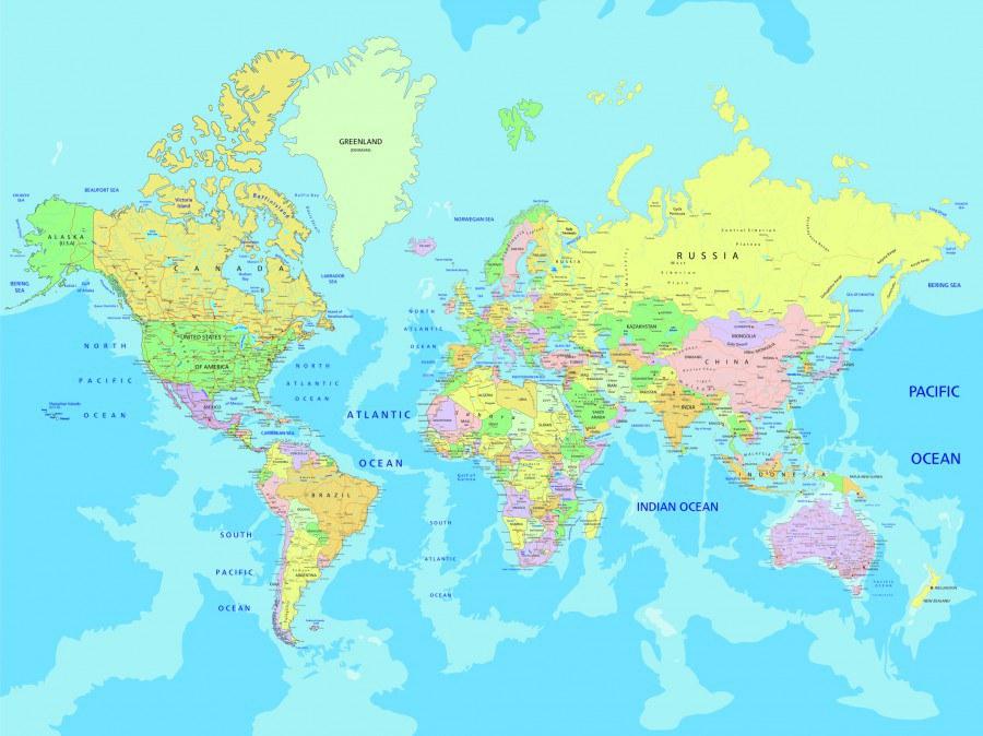 Fototapeta Mapa světa FTNXXL-2495, 360x270 cm - Fototapety vliesové