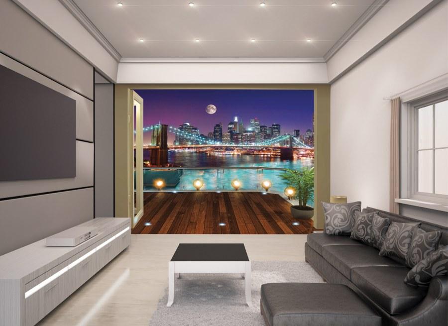Fototapeta 3D Walltastic Brooklynský most 43626, 305 x 244 cm - Fototapety papírové