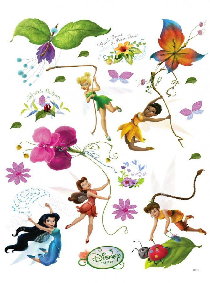 Maxi nálepka Fairies a motýlci AG Design DK-0883, rozměry 85 x 65 cm - Dekorace Fairies Víly