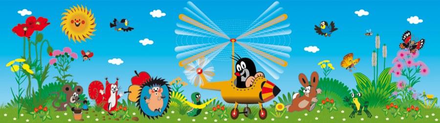 Samolepicí bordura Krtek ve Vrtulníku WBD8091 - Dekorace Krteček