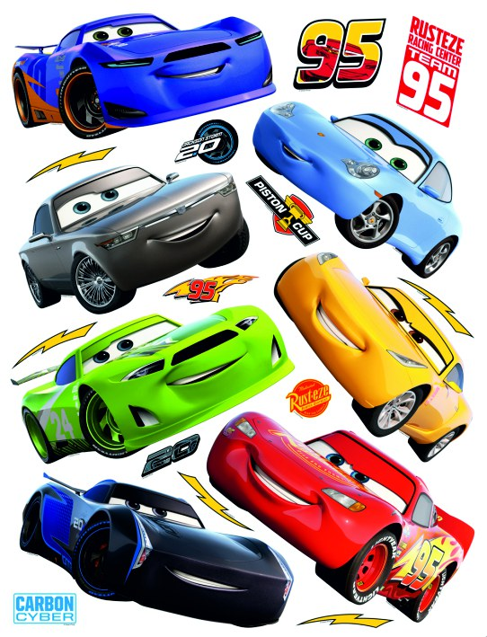 Samolepicí dekorace Cars auta DK-2310, 85x65 cm - Dekorace Cars