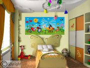 Fototapeta vliesová Krtek a vrtulník FTDNH-5373, 202x90 cm Fototapety pro děti - Fototapety dětské vliesové