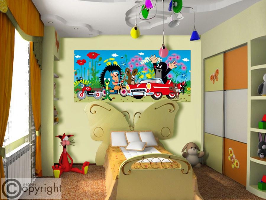 Fototapeta vliesová Krtek a auto FTDNH-5374, 202x90 cm - Fototapety dětské vliesové