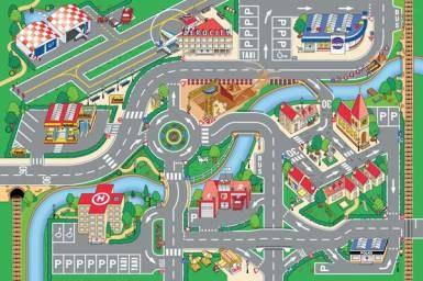 Dětský koberec Město a letiště, rozměry 80 x 120 cm - Dětské koberce