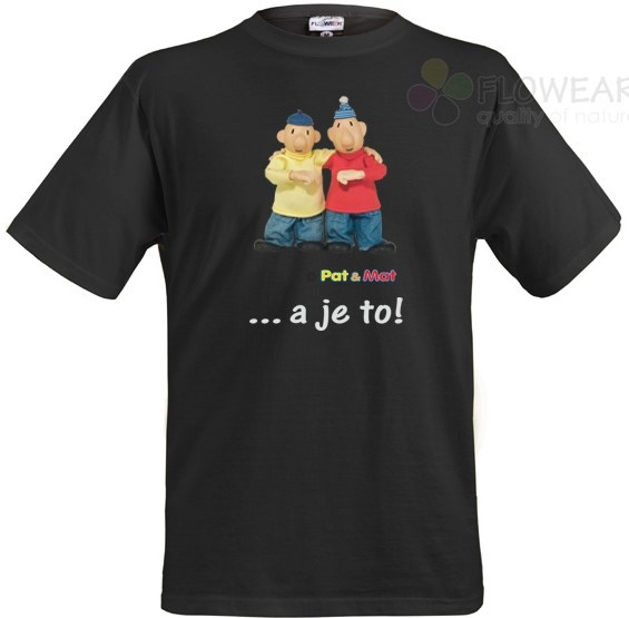 Tričko Pat a Mat černé, velikost XL - Pánské trička