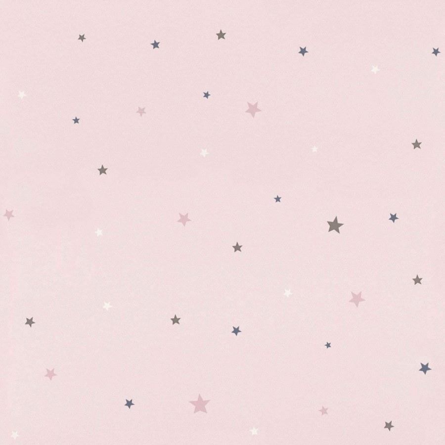 Papírová růžová tapeta do pokojíčku barevné hvězdičky Bambino 245233 - Tapety Bambino