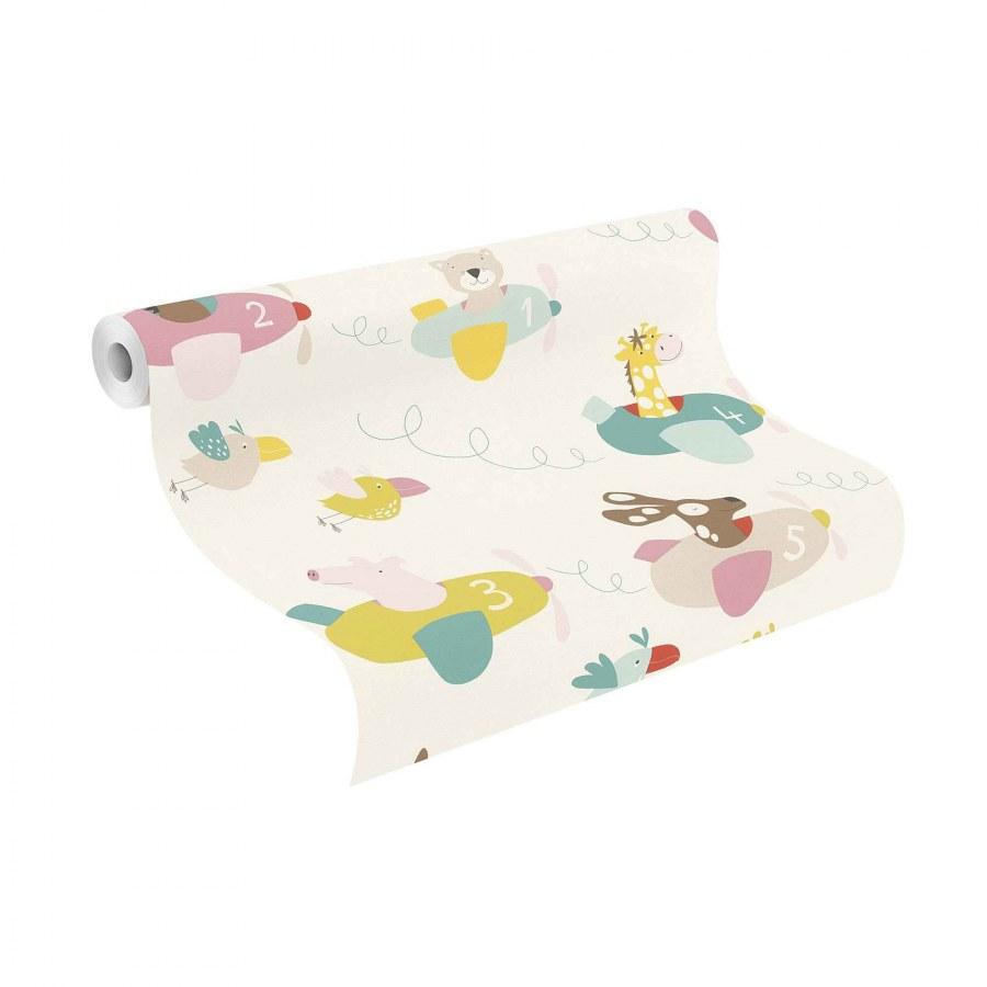 Papírová tapeta do pokojíčku zvířátka v letadlech Bambino 249064 - Tapety Bambino