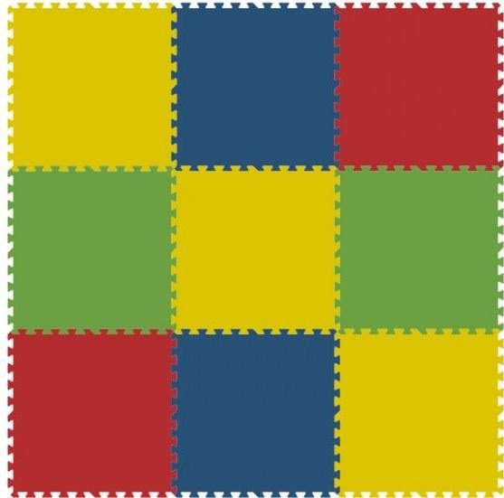 Podlahové pěnové puzzle koberec 9 velkých dílků 16 mm, rozměry 181 x 181 cm