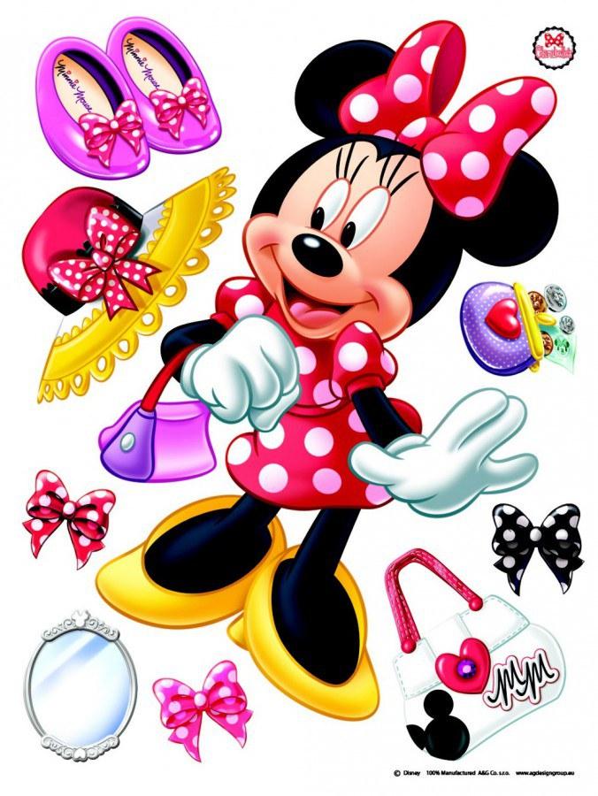 Maxi nálepka Minnie a doplňky AG Design DK-1703, rozměry 85 x 65 cm - Dekorace Mickey Mouse