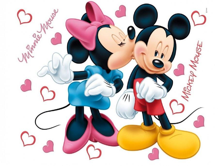 Samolepka Mickey a Minnie Love AG Design DK-1753, rozměry 42,5 x 65 cm - Dekorace Mickey Mouse