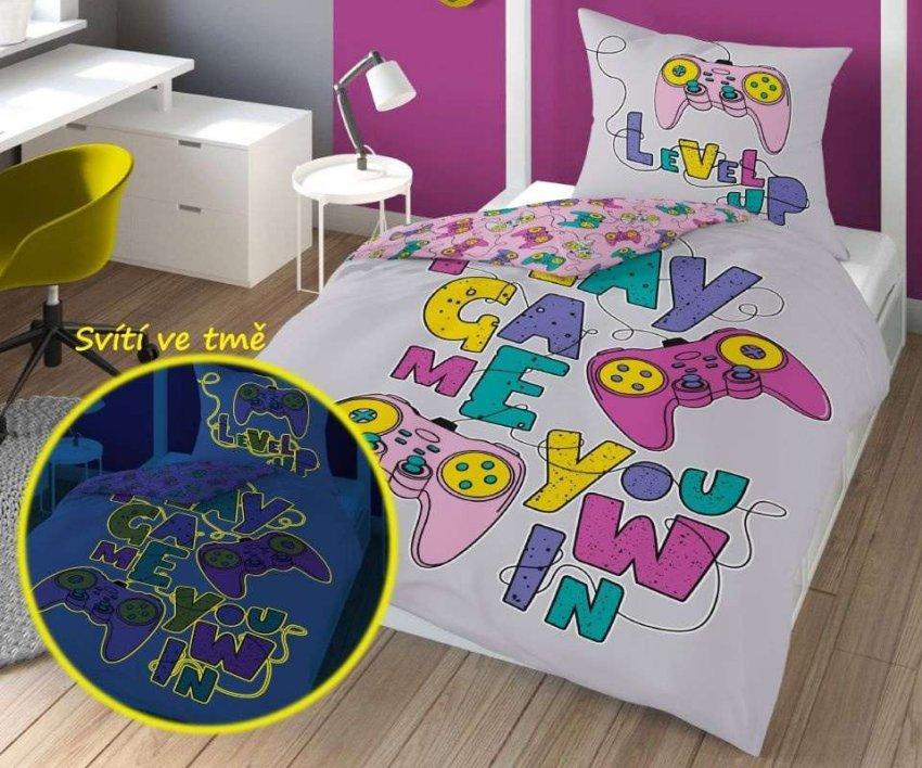 DETEXPOL Povlečení Play Game Pink svítící Bavlna, 140/200, 70/80 cm - Povlečení pro teenagery