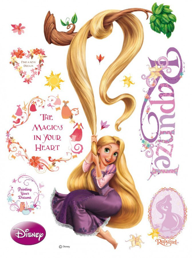 Maxi nálepka Rapunzel a magic AG Design DK-0853, rozměry 85 x 65 cm - Dekorace Na Vlásku