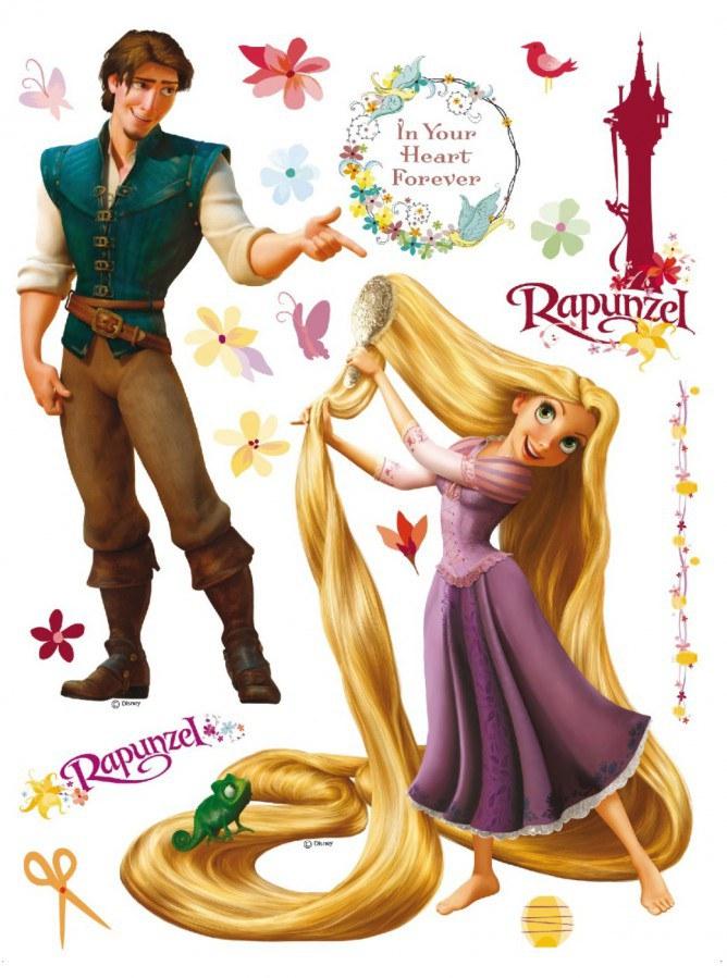 Maxi nálepka Rapunzel a Princ AG Design DK-0852, rozměry 85 x 65 cm - Dekorace Na Vlásku