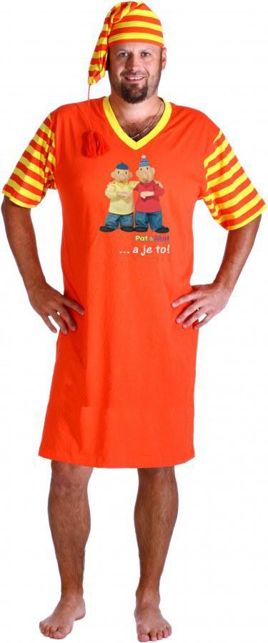 Noční košile s čepičkou pánská oranžová Pat a Mat, velikost XL - Noční košile Pat a Mat
