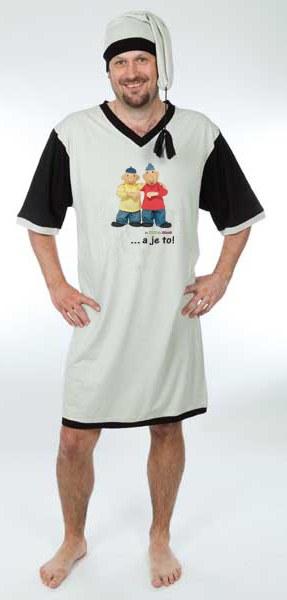 Noční košile s čepičkou pánská Pat a Mat, velikost M - Noční košile Pat a Mat