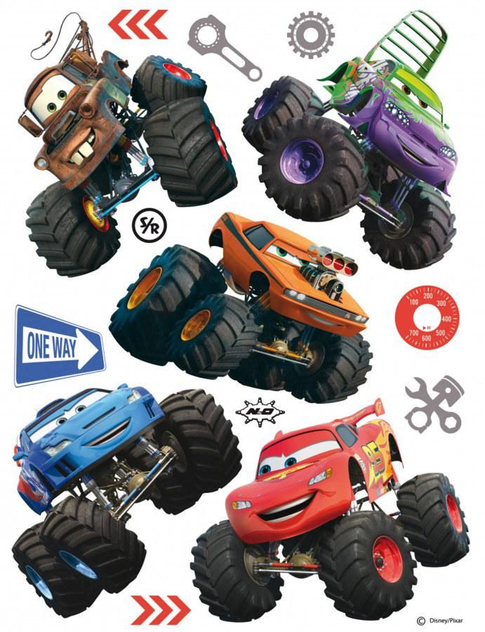 Maxi nálepka Cars monsters tracky AG Design DK-1766, rozměry 85 x 65 cm - Dekorace Cars