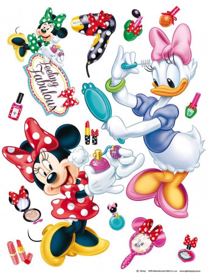 Maxi nálepka Minnie a šminky AG Design DK-1767, rozměry 85 x 65 cm - Dekorace Mickey Mouse