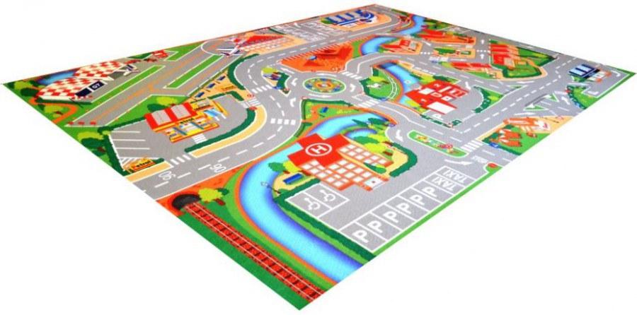 Dětský koberec Město a letiště potisk, rozměry 100 x 150 cm | Dětské koberce Koberce Hrací