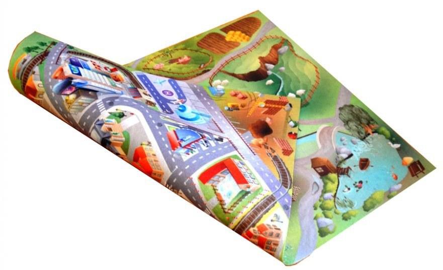 Dětský koberec venkovní oboustranný Farma-Město, rozměry 75 x 100 cm | Dětské koberce Koberce Hrací