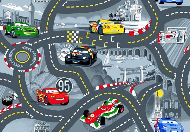 Koberec do dětského pokoje Cars Racing šedý, rozměry 133 x 133 cm | Dětské koberce Koberce Cars