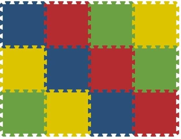 Podlahové pěnové puzzle koberec 12 malých dílků 16 mm, rozměry 91 x 121 cm - Dětské koberce