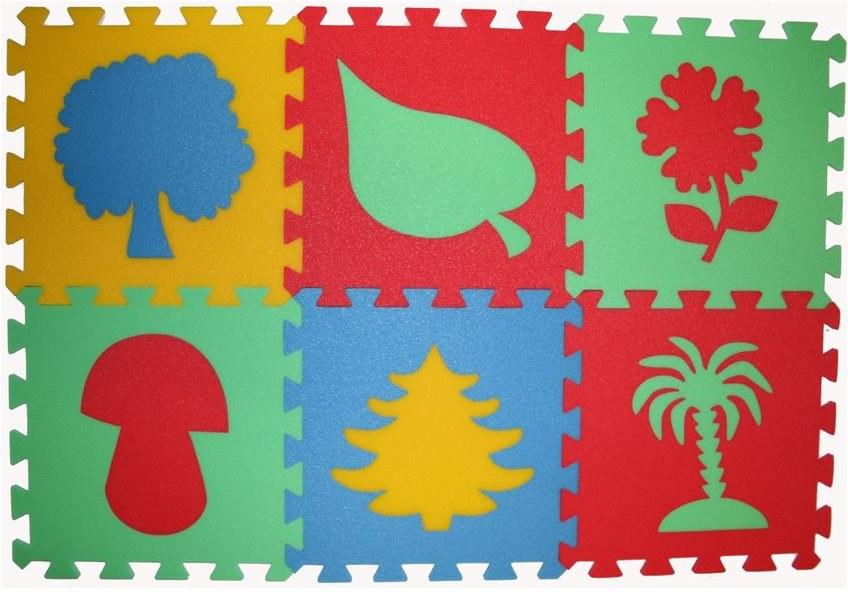 Pěnové puzzle koberec Rostliny 8 mm, rozměry 61 x 91 cm - Dětské koberce