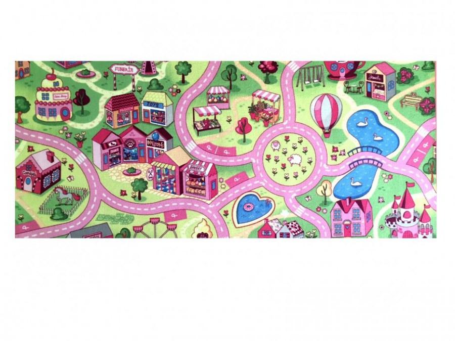 Dětský koberec pro holky Sladké město kruh, průměr 200 cm - Koberce na hraní