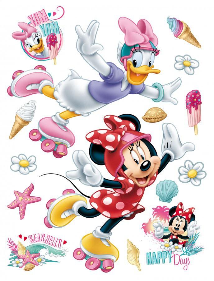 Maxi nálepka Minnie na bruslích AG Design DK-1724, rozměry 85 x 65 cm - Dekorace Mickey Mouse