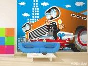 Fototapeta Krteček a autíčko FTNXXL-2425, rozměry 360 x 270 cm Fototapety pro děti - Fototapety dětské vliesové