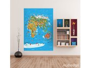 Fototapeta Mapa Světa FTNXL-2540, rozměry 180 x 202 cm Fototapety pro děti - Fototapety dětské vliesové